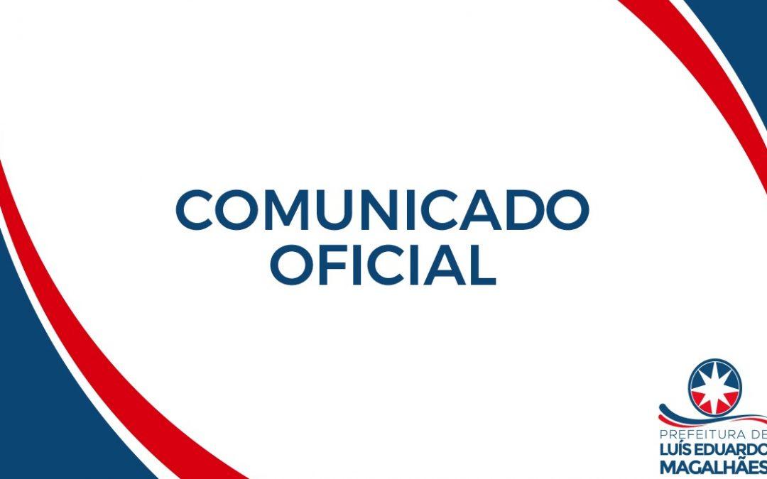 LEM: Comunicado da Prefeitura de Luís Eduardo Magalhães