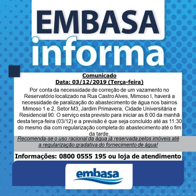 LEM: EMBASA informa