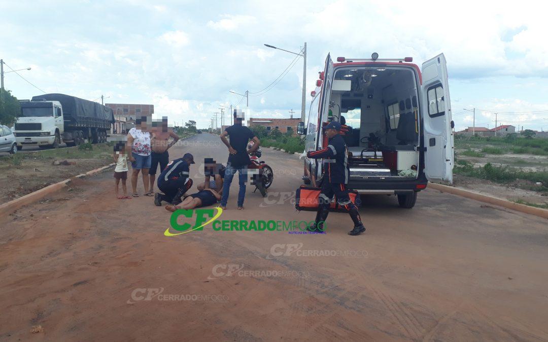 LEM: Jovem fica ferida após cair de motocicleta na entrada do Bairro Mimoso 3.