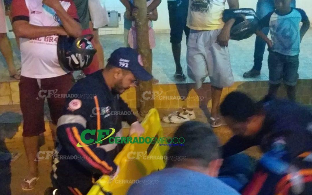 LEM: Motociclista fica ferido após motocicleta estourar pneu.